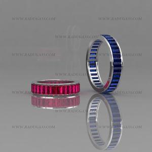 02161 Обручальные кольца из белого золота с дорожкой из крупных камней