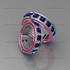 02019 Обручальные кольца из белого золота с крупными камнями