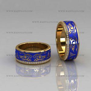 02102 Обручальные кольца с эмалью и дорожкой бриллиантов