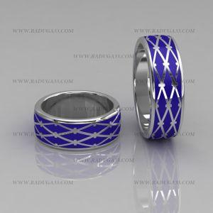 02129 Обручальные кольца из белого золота с синей эмалью