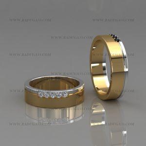 02174 Обручальные кольца с прямоугольным разрезом шинки и дорожкой камней