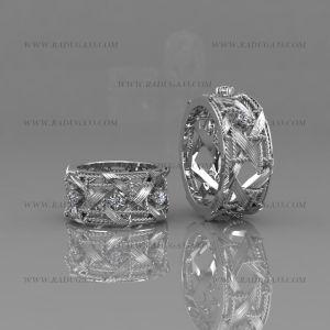 02168 Авторские обручальные кольца с камнями