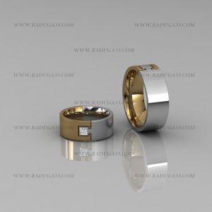02010 Кольца обручальные из белого и желтого золота с камнем