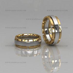 02148 Кольца обручальные парные с элементами из белого и желтого золота