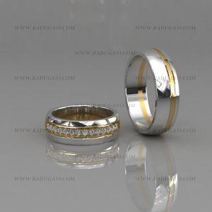 02175 Кольца обручальные с шинкой из белого золота с вставками желтого и дорожкой камней