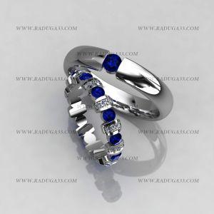 02122 Обручальные кольца из белого золота с топазами и бриллиантами