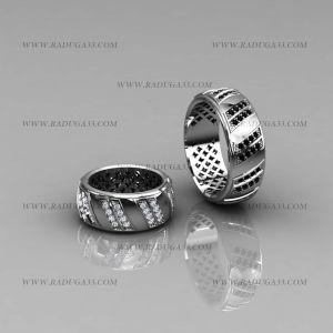 02006 Обручальные кольца из белого золота с дорожками бриллиантов