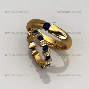 02122 Обручальные кольца из желтого золота с топазами и бриллиантами