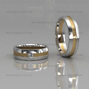 02112 Парные обручальные кольца из белого золота с полосой желтого