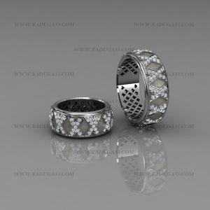 02005 Парные авторские кольца из белого золота с дорожками камней