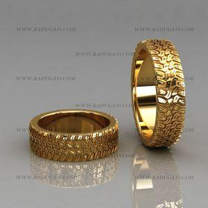 02186 Обручальные кольца из желтого золота с оригинальной поверхностью