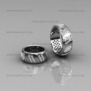 02006 Обручальные кольца из белого золота с прозрачными бриллиантами