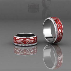 02102 Обручальные кольца покрытые красной эмалью