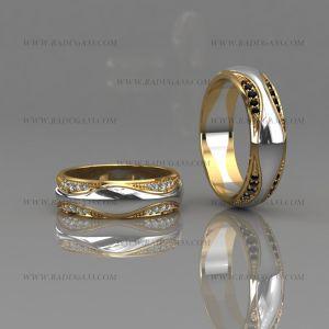 02160 Авторские кольца из золота двух цветов с дорожками камней