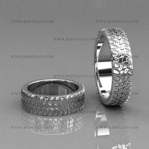 02186 Обручальные кольца из белого золота с оригинальным рисунком
