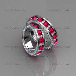 02019 Обручальные кольца из белого золота с крупными рубинами