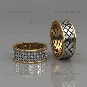 02178 Дизайнерские модели обручальных колец из белого и желтого золота украшенные камнями