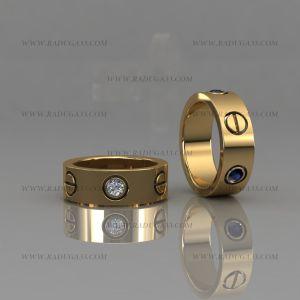 02153 Парные обручальные кольца из желтого золота с камнями