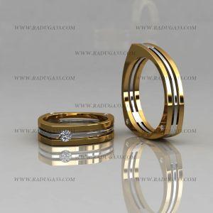 02114 Обручальные кольца из желтого и белого золота с камнем в женской модели